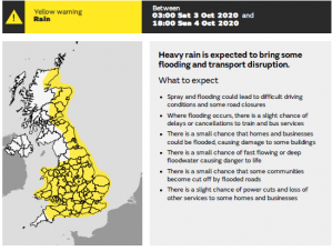 MET Office Issues Yellow Weather Warning - Heavy Rain expected to bring some disruption